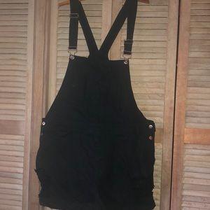 Forever 21+ black distressed overalls